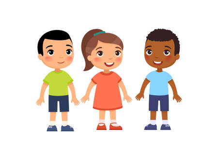 International group of little children. Cute cartoon characters isolated on white background. Flat vector color illustration.