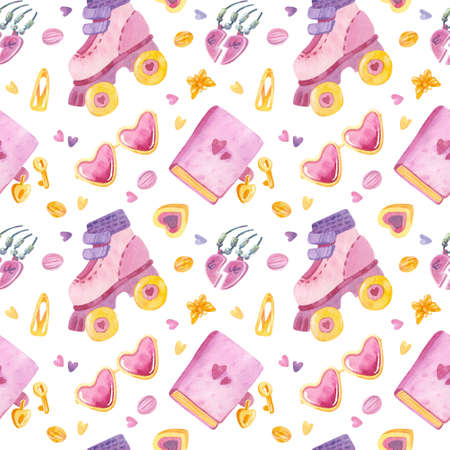 Retro seamless pattern. 90s toys, heart-shaped glasses, roller skates,  love pendant, sweets, hairpins. Watercolor girlish clipart on white background. 스톡 콘텐츠