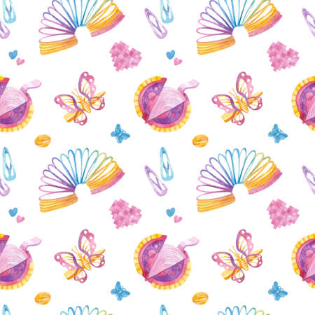Retro seamless pattern. 90s toys, slinky rainbow, bubble gum, butterfly hairpins, sweets. Watercolor girlish clipart on white background.