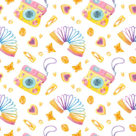 Retro seamless pattern. 90s toys, camera, slinky rainbow, butterfly hairpins, hearts. Watercolor girlish clipart on white background. 스톡 콘텐츠