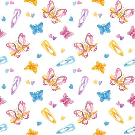 Retro seamless pattern. 90s toys,butterfly hairpins, hairpins, hearts. Watercolor girlish clipart on white background.