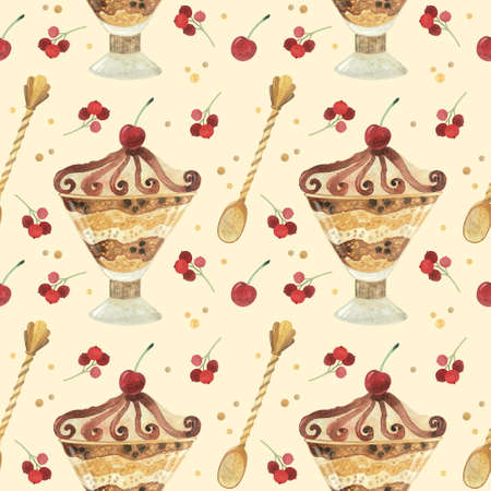 Seamless pattern - watercolor ice cream with berries on a beige background. Product clipart. Premium dessert food, hand drawn illustration. Фото со стока