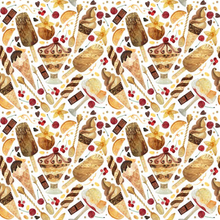 Seamless pattern - watercolor ice cream on a white background. Product clipart. Premium dessert food, hand drawn illustration.