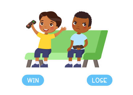 Opposites concept; WIN and LOSE. Word card for English language learning. Dark skin boys gamers. Boy is happy to win the game console; other boy is angry at losing. Flashcard with antonyms