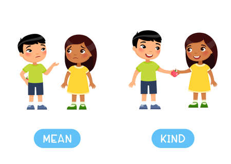 Opposites concept, MEAN and KIND. Word card for English language learning, flashcard with antonyms. Greedy Asian boy hides an apple from an Indian little  girl. Generous boy gives another child a fruit.