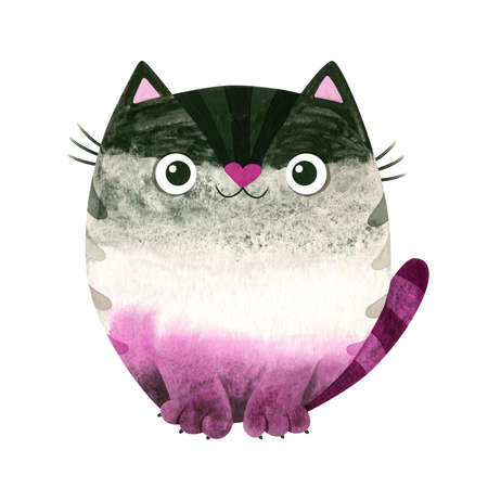 Asexual pride - watercolor clipart. LGBT art, rainbow cat for asexual stickers, posters, cards. 스톡 콘텐츠