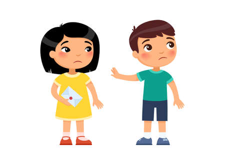 A little girl gives the boy a love letter and is rejected. First love concept. Child psychology. Broken heart. Cartoon multiracial characters. Flat vector illustration.