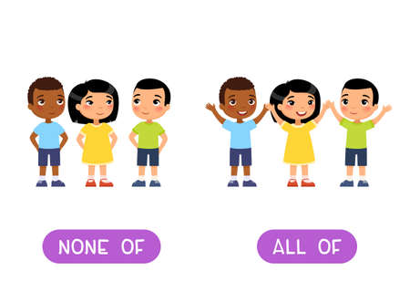 NONE OFF and ALL OFF antonyms word card, Opposites concept. Flashcard for English language learning. Multiracial children hold their hands up in agreement, no one raised their hand.
