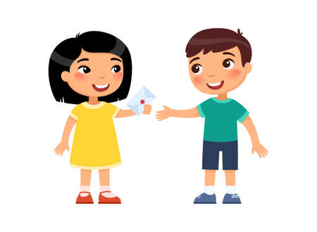 Little boy and girl exchange valentines. First love concept. Valentine's Day at school or kindergarten. Child psychology. Cartoon multiracial characters. Flat vector illustration. 일러스트