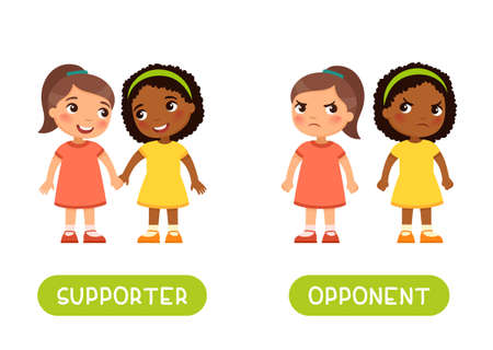 SUPPORTER and OPPONENT antonyms flashcard, Opposites concept. Word card for English language learning with multiracial cartoon characters.