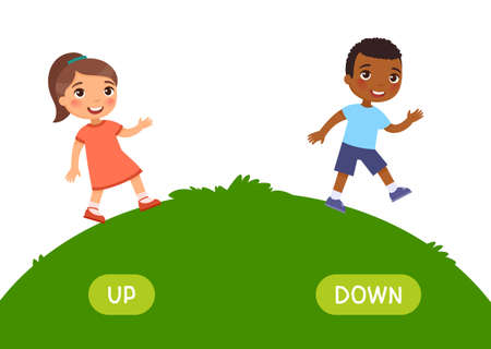 Opposites concept, UP and DOWN. Word card for English language learning. Little  European girl goes up the hill, African boy goes down. Flashcard with antonyms for children.