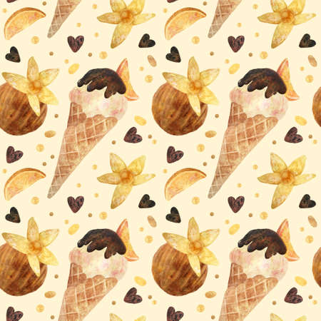 Seamless pattern - watercolor Ice Cream  with orange and with physalis on a beige background. Product clipart. Premium dessert food, hand drawn illustration.