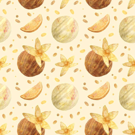 Seamless pattern - watercolor Ice Cream Balls with orange and with physalis on a beige background. Product clipart. Premium dessert food, hand drawn illustration. Фото со стока