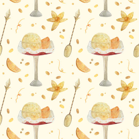 Seamless pattern - watercolor Ice Cream with orange and with physalis on a beige background. Product clipart. Premium dessert food, hand drawn illustration. Фото со стока