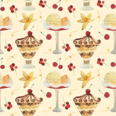 Seamless pattern - watercolor Ice Cream with berries and with physalis on a beige background. Product clipart. Premium dessert food, hand drawn illustration.