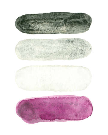 Asexual pride - watercolor clipart. LGBT art, rainbow elements for asexual stickers, posters, cards. Фото со стока