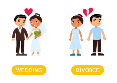 Opposites concept, WEDDING and DIVORCE. Word card for English language learning. Flashcard with antonyms for children.