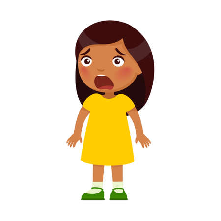 Little Indian frightened girl. Dark skin child with intense emotion on the face. Psychology, the concept of children's fears. Ð¡artoon character isolated on white background. Flat vector color illustration.
