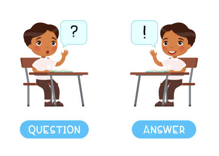 QUESTION and ANSWER antonyms word card vector template. Flashcard for English language learning. Opposites concept. The Indian schoolboy reaches out and asks a question. Dark skin child wants to answer. Иллюстрация