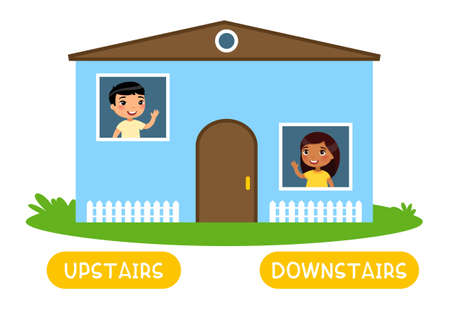 Opposites concept, UPSTAIRS and DOWNSTAIRS. Word card for English language learning. Flashcard with antonyms for children.