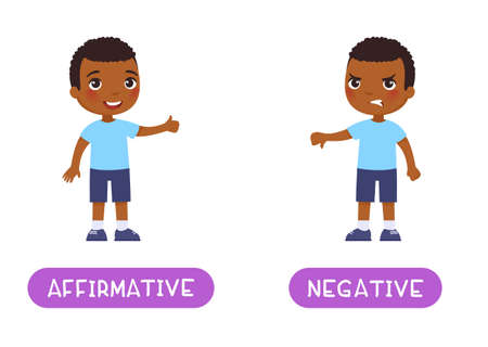 Affirmative and negative antonyms word card, Opposites concept. Flashcard for English language learning. Joyful African little boy shows thumbs up in agreement, a disgruntled dark skin child shows thu Иллюстрация