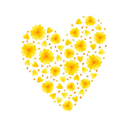 Yellow floral heart. Spring flowers blossoms and petals on white background. Floral elements