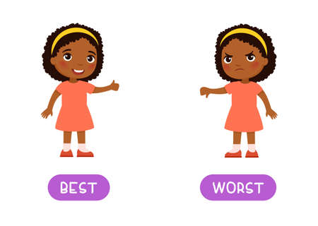 Best and worst antonyms word card, Opposites concept. Flashcard for English language learning. Joyful African little girl shows thumbs up in agreement, a disgruntled dark skin child shows thumbs down