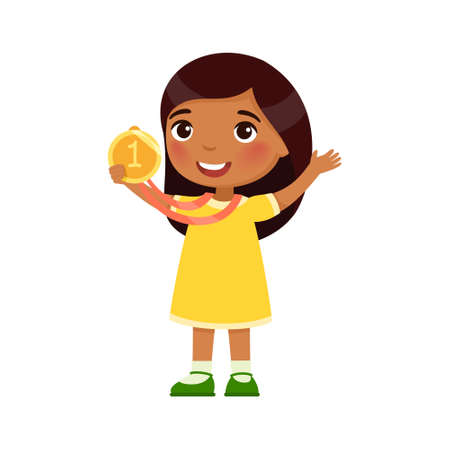 Little Indian girl happy with a golden medal in his hand. Victory concept. Dark skin cartoon character, isolated on white background. Flat vector color illustration. Иллюстрация