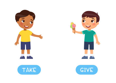 Opposites concept, TAKE  and GIVE . Word card for English language learning. Little European  boy holds out ice cream to an Indian friend. Flashcard with antonyms for children. Flat illustration with typography. Иллюстрация