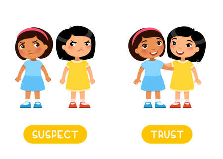 SUSPECT and TRUST antonyms flashcard, Opposites concept. Word card for English language learning with multiracial cartoon characters