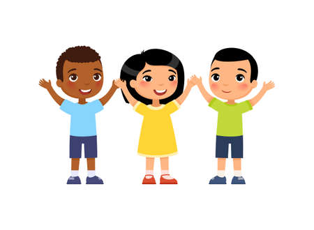 International group of young happy children. The concept of voting. Cute cartoon characters isolated on white background. Flat vector color illustration