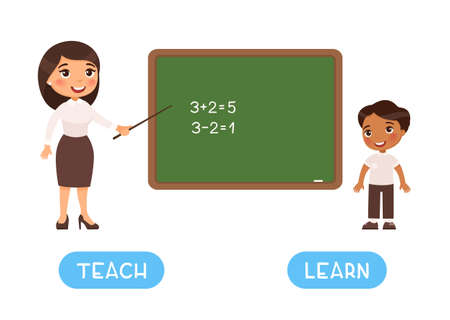 TEACH and LEARN antonyms flashcard, Opposites concept. Word card for English language learning with flat characters. Teaching and learning illustration