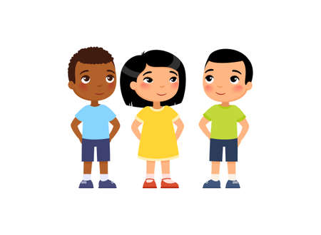 International group of young children hide their hands behind their backs. Concept of secret, surprise.  Cute cartoon characters isolated on white background. Flat vector color illustration.