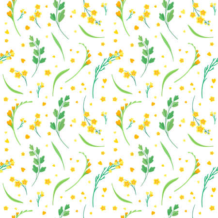 Yellow flowers and leaves seamless pattern. Blossoms floral decorative backdrop. Blooming spring plants. Vintage textile, fabric, wallpaper design Иллюстрация