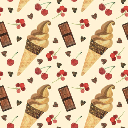 Seamless pattern - watercolor ice creams with cherry on a beige background. Product clipart. Premium dessert food, hand drawn illustration.