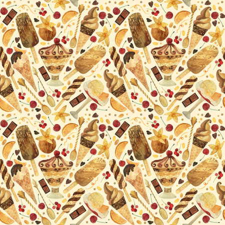Seamless pattern - watercolor ice cream on a beige background. Product clipart. Premium dessert food, hand drawn illustration.