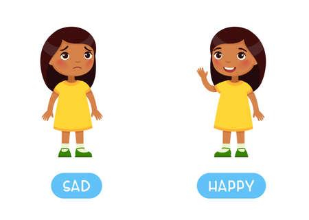 Opposites concept, HAPPY and SAD. Childish word card with antonyms. Flash card for foreign language with little child. Smiling and unhappy Indian girls. Иллюстрация