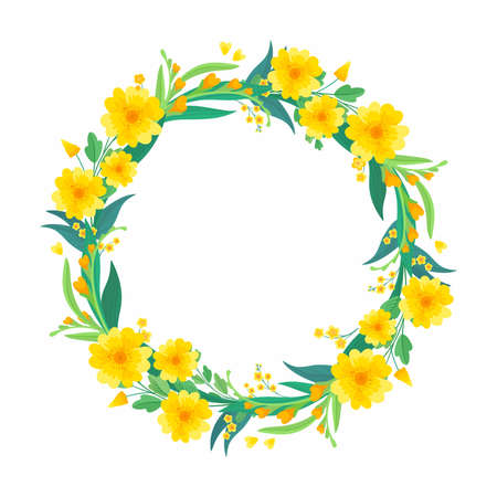 Yellow floral blank border for social media post, greeting card design.  Round empty frame with spring yellow flowers and green leaves.