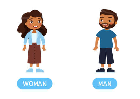 Woman ad man antonyms word card, Opposites concept. Flashcard for English language learning. Indian dark skin man and woman