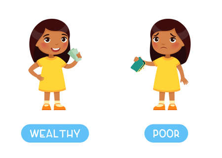 WEALTH and POOR antonyms word card, Opposites concept. Flashcard for english language learning. Indian girl with banknotes in his hands, Dark skin child with an empty wallet. Иллюстрация