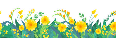 Yellow floral horizontal background. Spring flowers,  seamless border design.