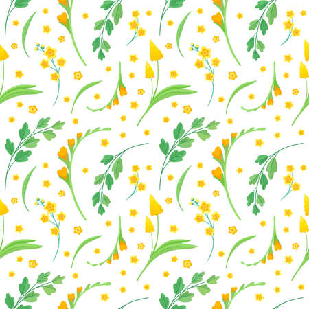 Yellow flowers and leaves seamless pattern. Blossoms floral decorative backdrop. Blooming spring plants. Vintage textile, fabric, wallpaper design on a white background Иллюстрация