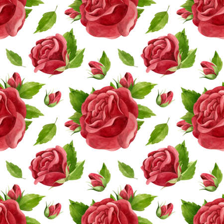 Watercolor red rose. Floral watercolor clipart, vintage style