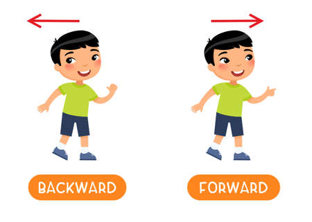 Backward and forward antonyms word, opposites concept. Flashcard for english language learning. Asian boy steps backward and steps forward and the arrows indicate the direction.