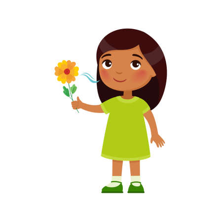 Indian little girl like the pleasant smell from a flower. Fragrance concept. Expression of emotion on the face of a dark skin child. Cartoon character