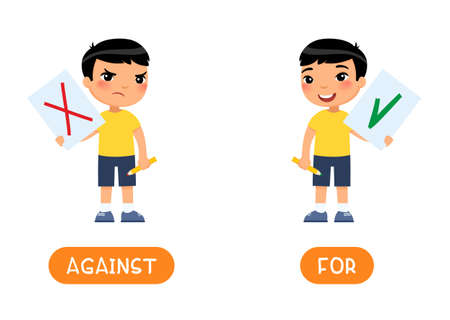 Against and for antonyms word card, Opposites concept. Flashcard for english language learning. Disgruntled and joyful Asian boy