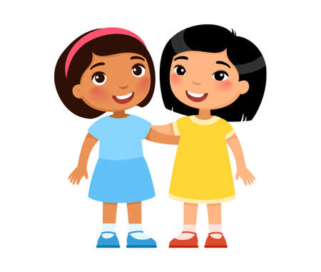 Two multiracial little girls hugging, cartoon characters. Smiling kids,  Friendship concept. Vector illustration.