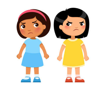 Two multiracial little girls look viciously at each other, cartoon characters. Angry children, enmity or rivalry concept. Vector illustration. 일러스트