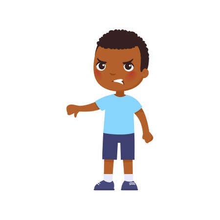 Little African boy showing thumb down gesture. Upset dark skin child standing alone cartoon character. Person negative emotion, disagreement expression