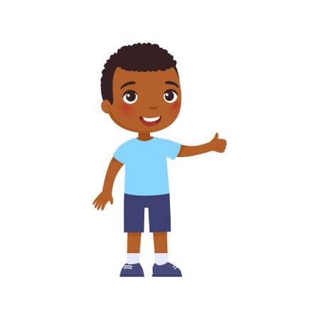 Cute African boy showing thumbs up gesture. Happy little kid, Smiling dark skin toddler, preteen child cartoon character